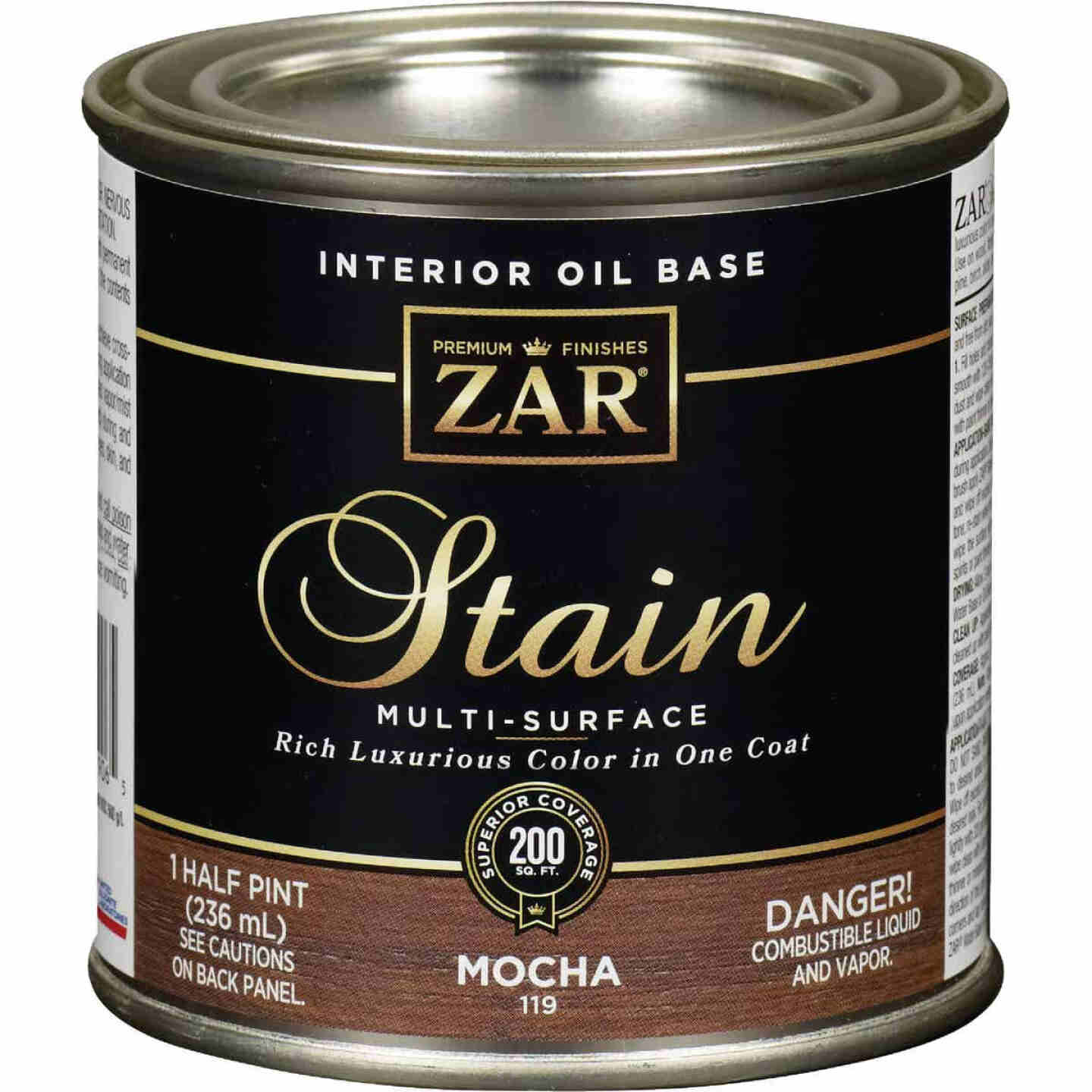ZAR Oil-Based Wood Stain, Mocha, 1/2 Pt. Image 1