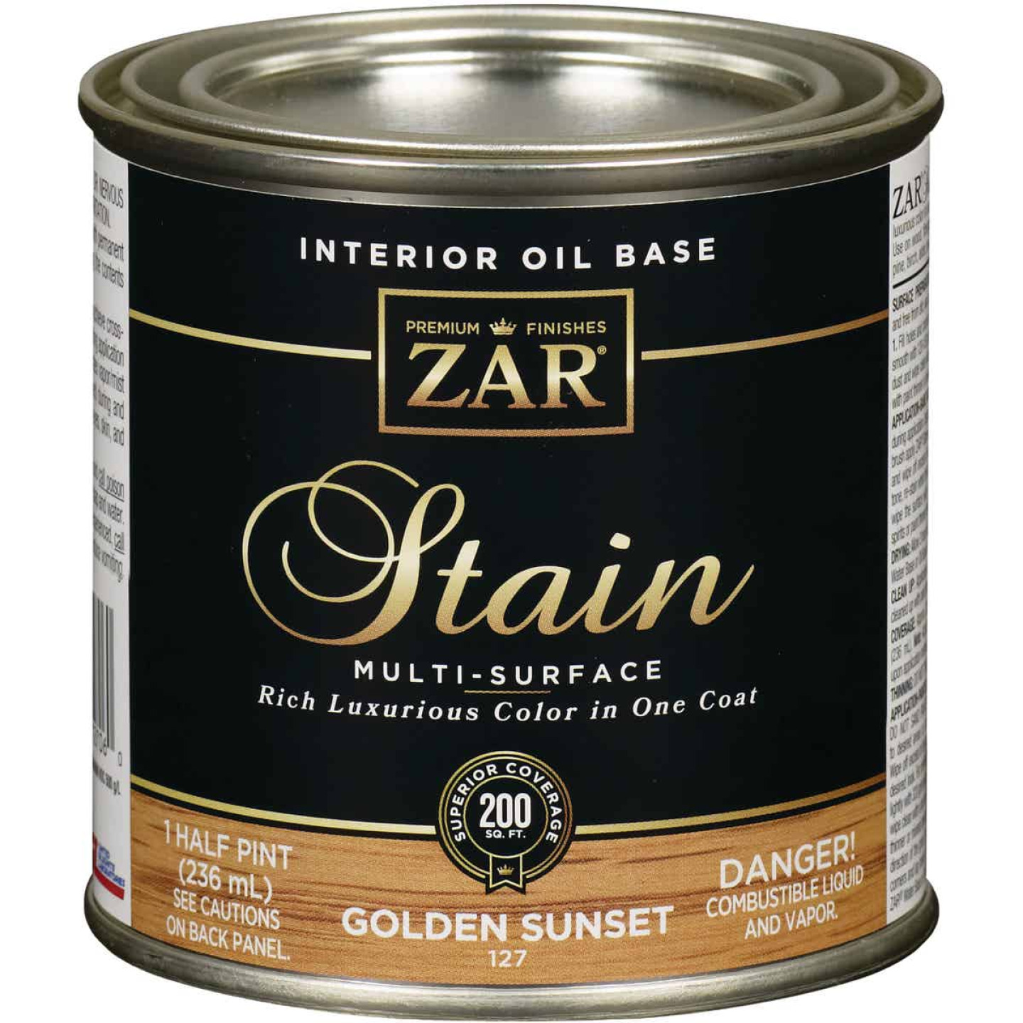 ZAR Oil-Based Wood Stain, Golden Sunset, 1/2 Pt. Image 1