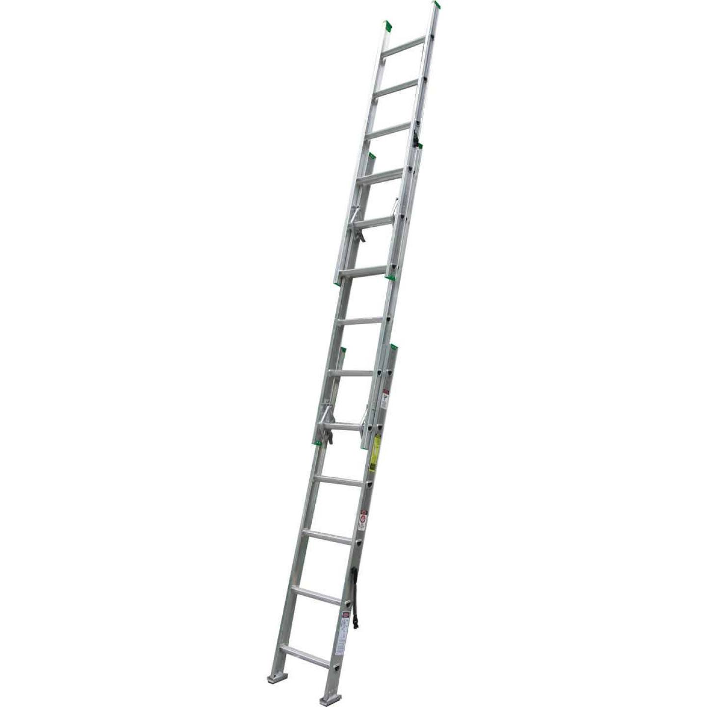 Werner 16 Ft. Compact Aluminum Extension Ladder with 225 Lb. Load Capacity Type II Duty Rating Image 1