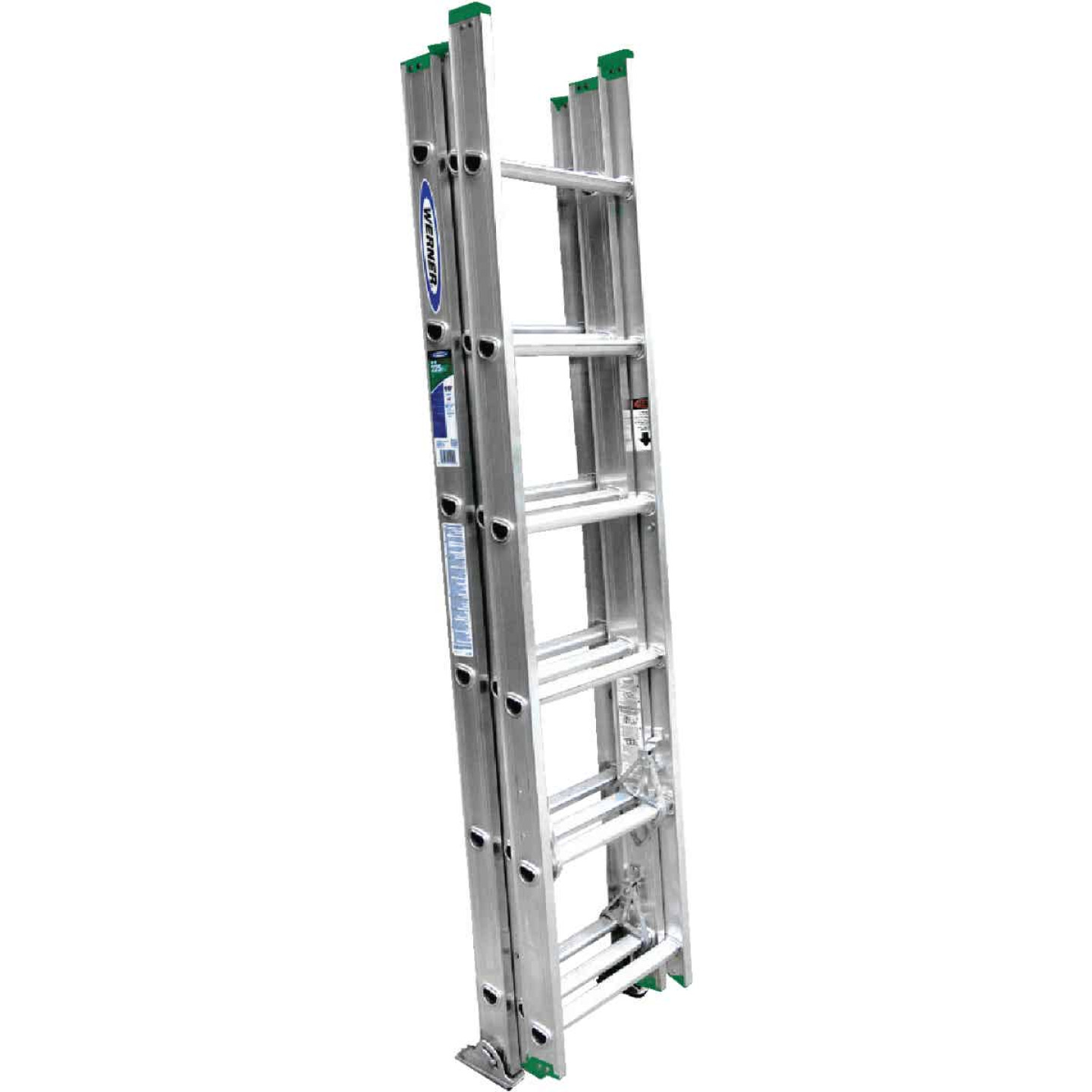 Werner 16 Ft. Compact Aluminum Extension Ladder with 225 Lb. Load Capacity Type II Duty Rating Image 5