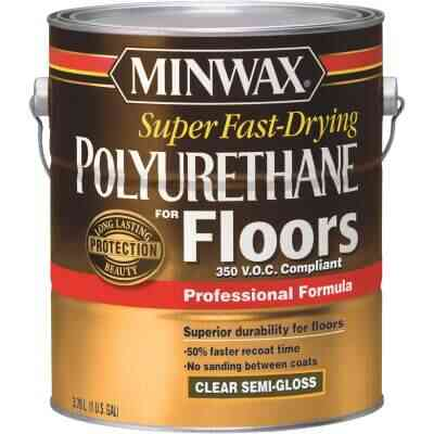 Minwax 1 Gallon Semi-Gloss VOC Fast Drying Polyurethane For Floor