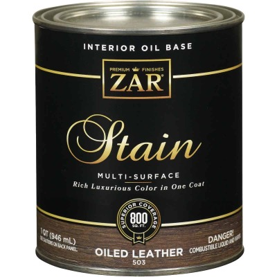 Zar 1 Qt. Oiled Leather Oil-Based Multi-Surface Interior Stain