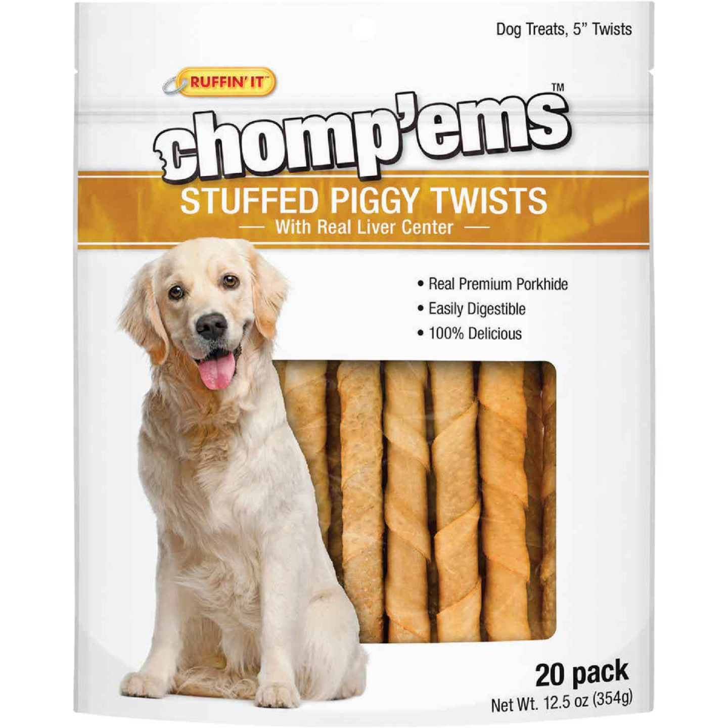 Ruffin' it Chomp'ems Pork Flavor Chewy Dog Treat (20-Pack) Image 1