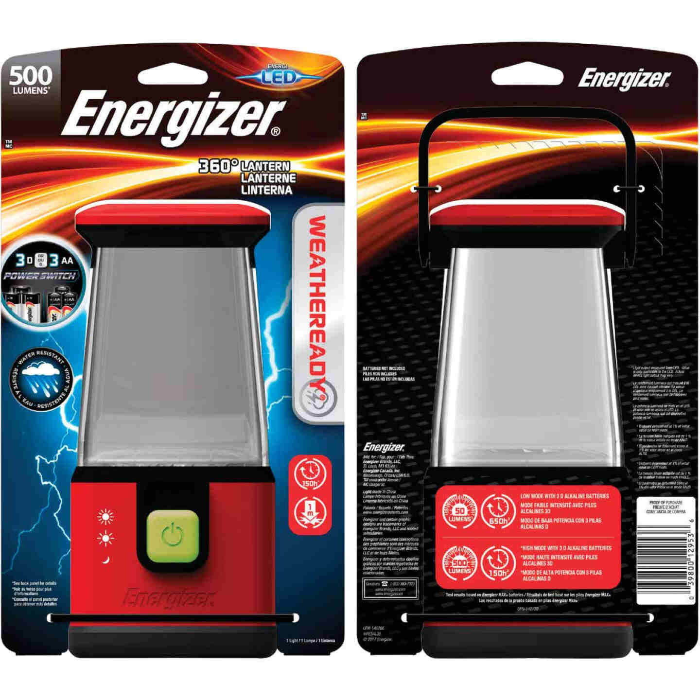 Energizer Weatheready 6 in. W. x 10 In. H. Red Plastic LED Lantern Image 1
