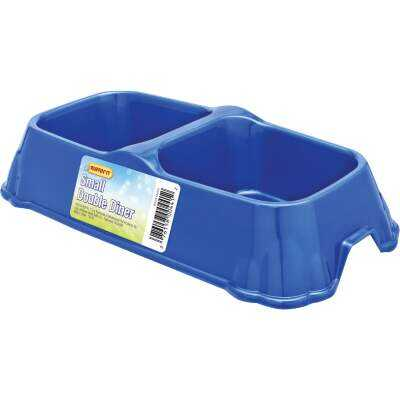 Westminster Pet Ruffin' it Plastic Rectangle Small Double Pet Food Bowl