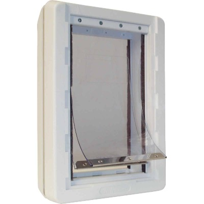 Ideal Pet Ruff Weather 9-3/4 In. x 17 In. Extra Large Plastic Off White Pet Door