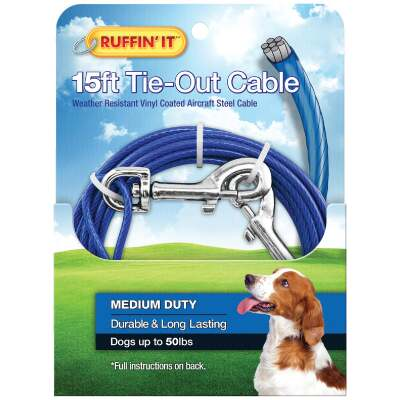 Westminster Pet Ruffin' it Medium-Duty Medium Dog Tie-Out Cable, 15 Ft.