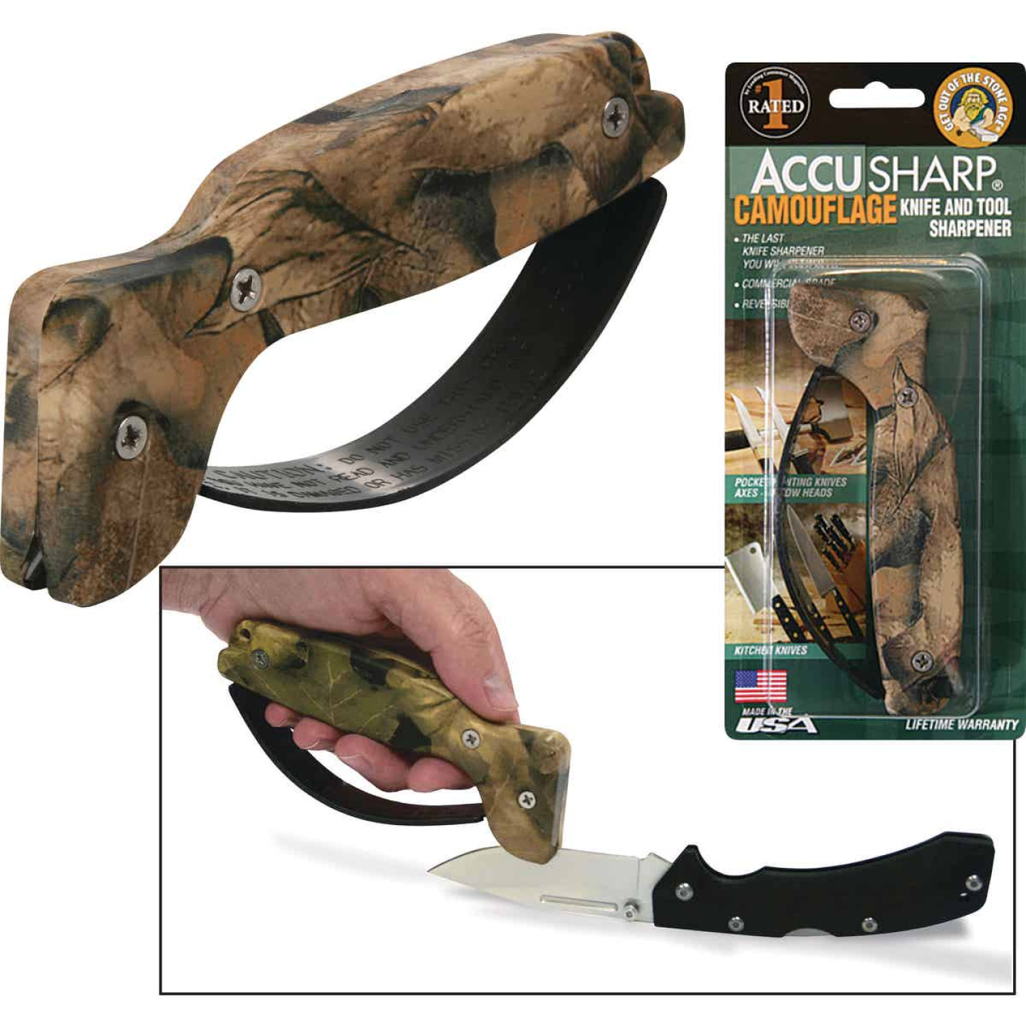 AccuSharp Groove Diamond-Honed Carbide Blade Camouflage Knife & Tool Sharpener Image 1