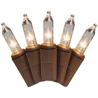J Hofert Clear 50-Bulb Mini Incandescent Light Set with Brown Wire