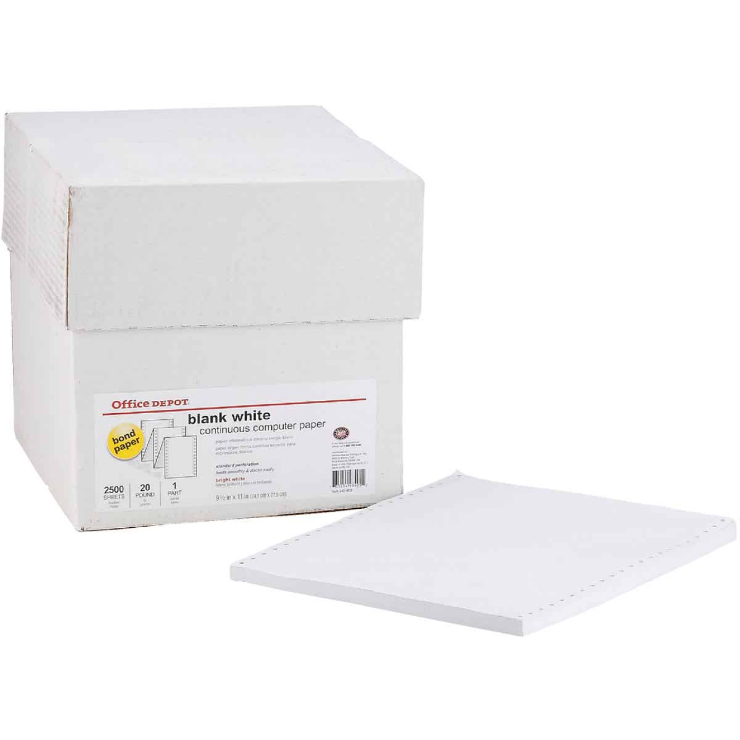 Staples 8-1/2 In. x 11 In. 20 Lb. White Blank Computer Printer Paper, 2500 Sheets Image 1
